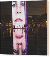 Crown Fountain Reflections Wood Print