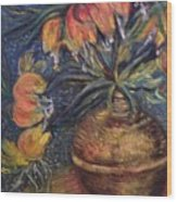 Crown Imperial Fritillaries In A Copper Vase Copy Wood Print