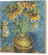 Crown Imperial Fritillaries In A Copper Vase Wood Print