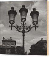 Crowned Luminaires In Paris Wood Print