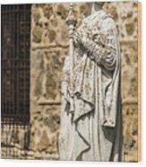Crowned Statue - Toledo Spain Wood Print