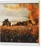 Crows And Corn Wood Print