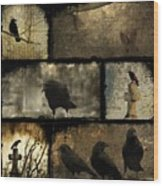 Crows And One Rabbit Wood Print