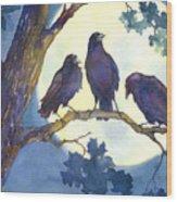 Crows In Moonlight Wood Print