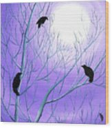 Crows On Empty Branches Wood Print