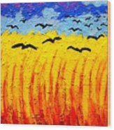 Crows Over Vincent's Field Wood Print