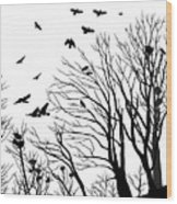 Crows Roost 2 - Black And White Wood Print