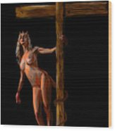 Crucified Wood Print by Tbone Oliver
