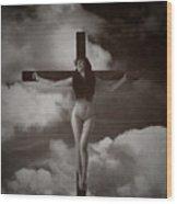 Crucifix And Clouds In Sepia Wood Print