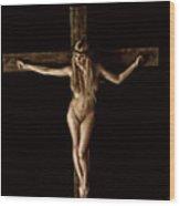 Crucifix In Painted Sepia I Wood Print