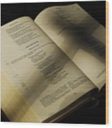 Crucifix Shadow On French Holy Bible Wood Print