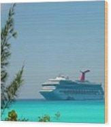 Cruise Ship At Half Moon Cay Wood Print