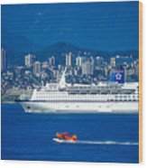 Cruise Ship In Vancouver Wood Print