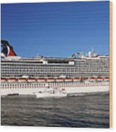 Cruise Ship Is Leaving The Port Wood Print