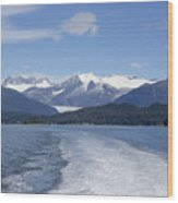 Cruise Ship Mountains Wood Print