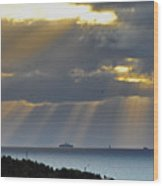 Cruise Ship Passing An Island As Sunrays Shine Through Clouds Wood Print