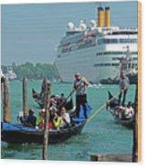 Cruise Ship Port Of Venice Wood Print