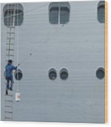 Cruise Ship Window Washer Wood Print