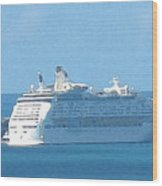 Cruiseship At Dockyard Bermuda Wood Print