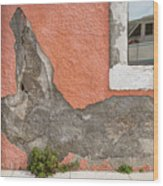 Crumbled Plaster Of An Orange Wall, Reflection Of A Boat In The Window Wood Print