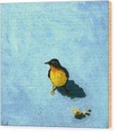 Crumbs -bird Painting Wood Print