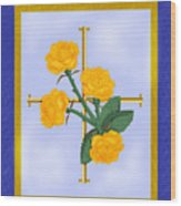 Crusader Cross And Four Gospel Roses Wood Print