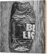 Crushed Blue Beer Can On Plywood 78 In Bw Wood Print
