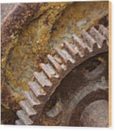 Crusty Rusty Gears Wood Print