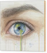 Earth In The Eye Crying Planet Wood Print