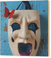 Crying Mask And Red Butterfly Wood Print