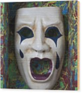 Crying Mask In Box Wood Print
