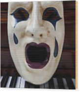 Crying Mask On Piano Keys Wood Print