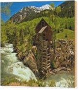 Crystal Mill Summer Landscape Wood Print