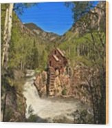 Crystal Mill Through The Trees Wood Print