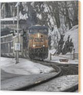 Csx Northbound At Mine Dock Road Highland Falls New York Wood Print