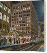 Cta Pulls Into The State-lake Street Station Chicago Illinois Wood Print