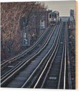 Cta Train Approaching Damen Avenue Station Chicago Illinois Wood Print