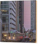Cta Train On The L At Dusk Chicago Illinois Wood Print