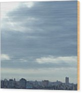Cuba City And Skyline Art Wood Print