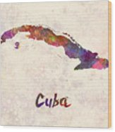 Cuba In Watercolor Wood Print