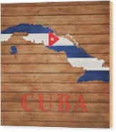Cuba Rustic Map On Wood Wood Print