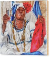 Cuban Character Wood Print by Dawn Currie