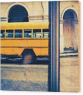 Cuban School Bus And Driver Wood Print
