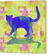 Cubist Cat Wood Print