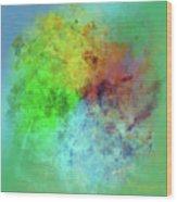 Cubist Rainbow Clouds Wood Print