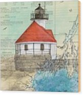 Cuckolds Lighthouse Me Nautical Chart Map Wood Print