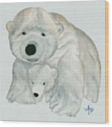 Cuddly Polar Bear Watercolor Wood Print