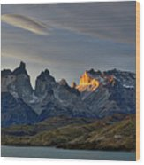 Cuernos Sunset Begins #4 - Patagonia Wood Print