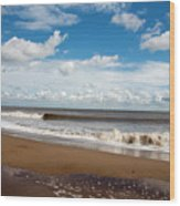 Cumulus Clouds Passing Across The Beach At Skegness Lincolnshire England Wood Print
