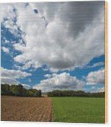 Cumulus Skies In France Wood Print